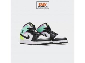 "Кроссовки Air Jordan 1 Mid ""Pastel""/ white, black, volt green glow"