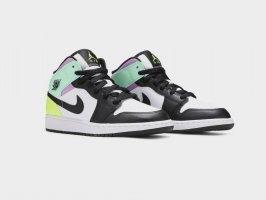 "Кроссовки Air Jordan 1 Mid ""Pastel""/ white, black, volt green glow, 554725-175"