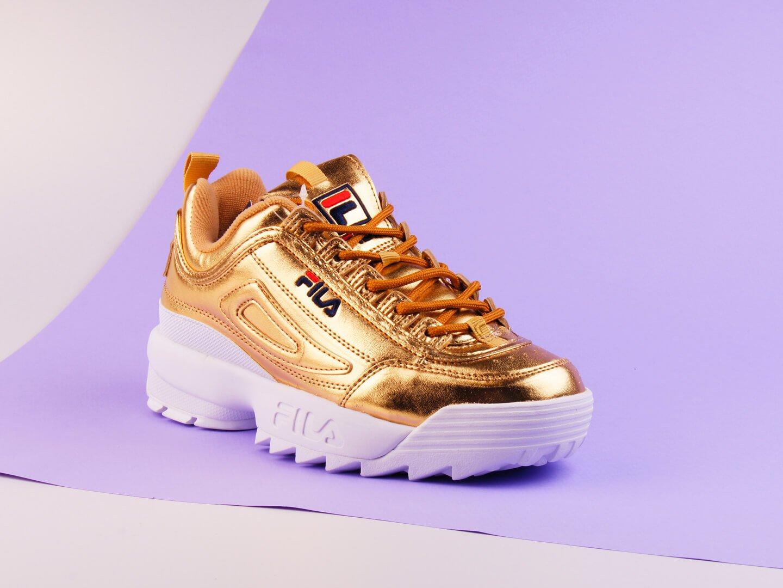 Женские кроссовки Fila Disruptor II Premium Metallic / gold