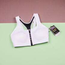 Женский топ Nike Zip Sports Bra/ White-Black