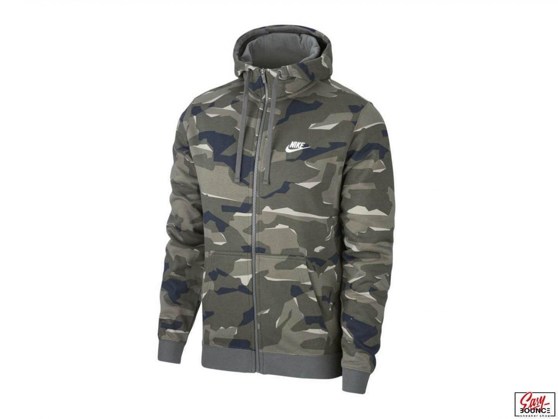 Толстовка Nike NSW Club Camo Hoodie, Cargo Khaki/White