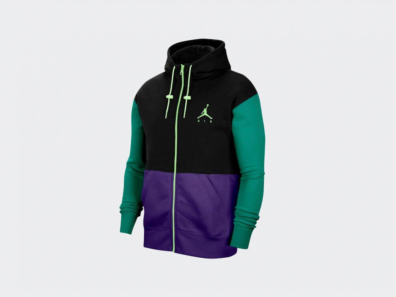 Толстовка Air Jordan Jumpman Air Fleece Full-Zip / black, court purple, barely volt