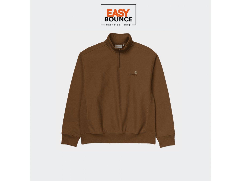 Толстовка Carhartt WIP Half Zip American Script Sweatshirt / hamilton brown