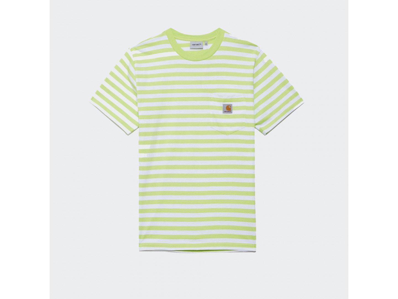Футболка Carhartt WIP S/S Scotty Pocket T-Shirt SCOTTY STRIPE, LIME / WHITE
