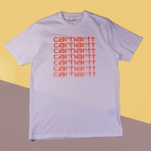 Футболка Carhartt WIP S/S Fading Script T-Shirt WHITE / POP CORAL